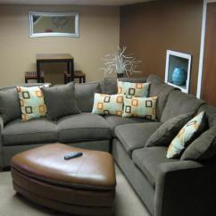 Brown And Orange Living Room Wall Decor Ideas Images Basement With Gray Sectional