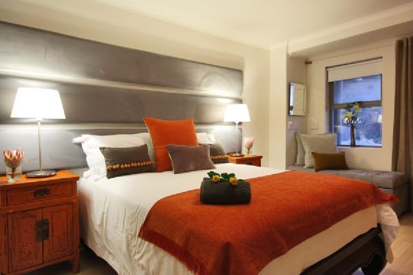 Gray and Orange Bedding  Contemporary  bedroom
