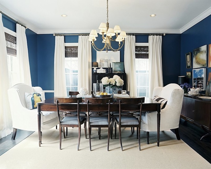striped wingback chair accent chairs blue walls - transitional dining room benjamin moore champion cobalt lonny magazine