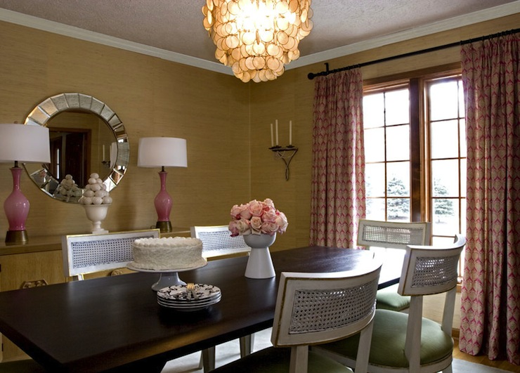 Gold Grasscloth  Transitional  dining room  Angie Hranowski