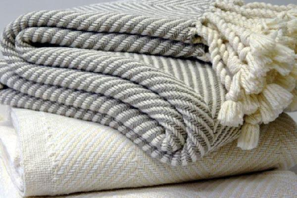 Herringbone Throw White or Stone  THROWS