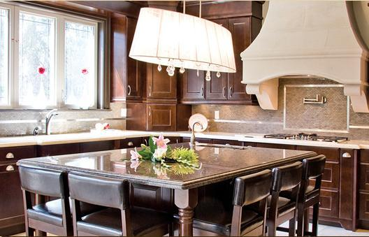 Girl And Marble Wallpaper Chocolate Brown Cabinets Transitional Kitchen Aya