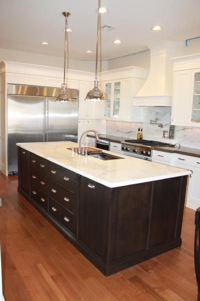 Calcutta Marble Countertops  Transitional  kitchen  Sherwin Williams canvas tan