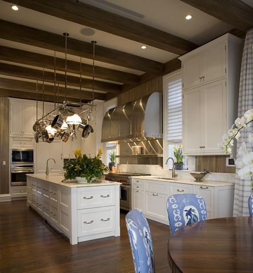 open kitchen with ceiling beams Sloped Kitchen Ceiling With Wood Beams Design Ideas