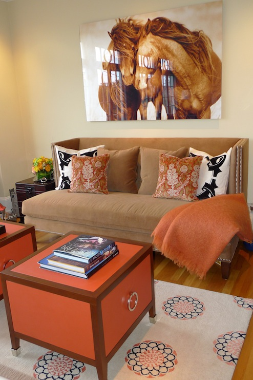 Brown and Orange Living Room  Contemporary  living room