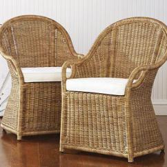 Round Cushions For Outdoor Chairs Adjustable Height Wingate Rattan Dining Armchair - Pottery Barn