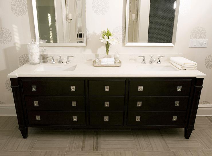Black Double Vanity  Transitional  bathroom  Dresser Homes