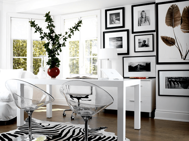black and white cowhide chair cloth dining chairs lucite contemporary den library office lloyd ralphs design