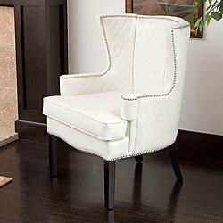Roma White Quilted Leather Arm Chair  Overstockcom