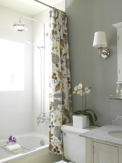 Yellow Shower Curtain  Cottage  bathroom  Benjamin