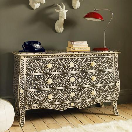 Black  Bone Inlay French Style Chest Of Drawers New