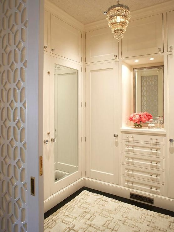 Mirrored Doors Transitional Closet Benjamin Moore Atrium White Massucco Warner Miller