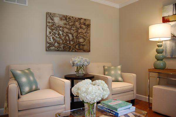 Greige Paint  Contemporary  living room  Benjamin Moore Grant Beige