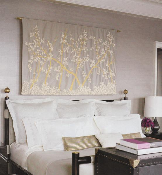 Tapestry over Bed  Contemporary  bedroom  Elle Decor