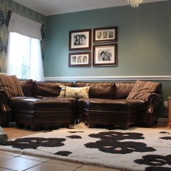 Dark Turquoise Living Room Walls Gray With Brown Leather Furniture