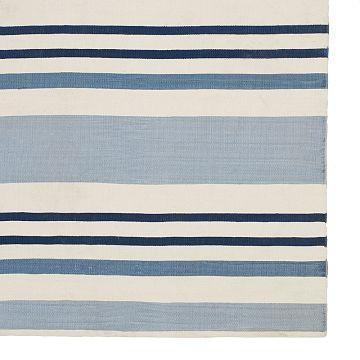 Blue Striped Rug 8x10 Cotton