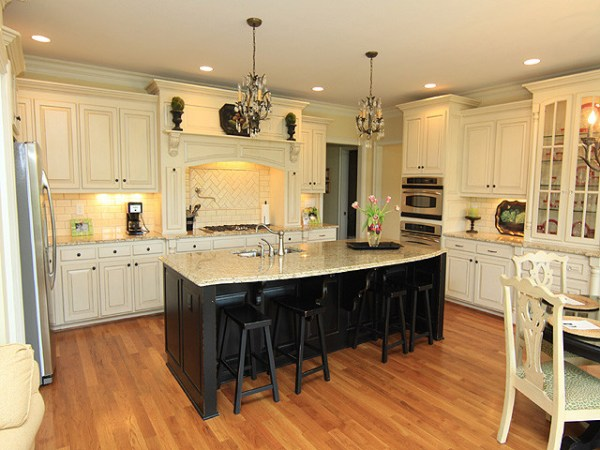 cream kitchen with islands Kitchen
