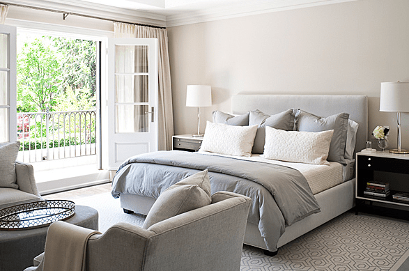 simple light blue walls master bedroom Gray Duvet - Transitional - bedroom - Jennifer Worts Design
