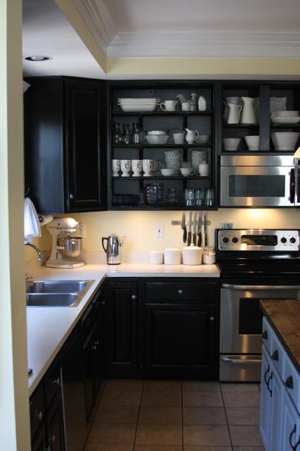 Black Kitchen Cabinets  Transitional  kitchen  Behr