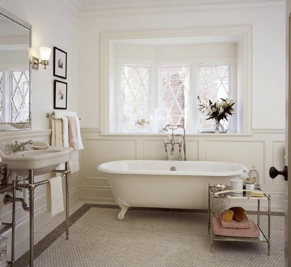 Gray Border Tiles  Cottage  bathroom  Jennifer Worts Design