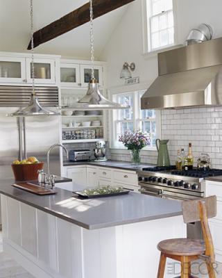 Grey Countertops  Cottage  kitchen