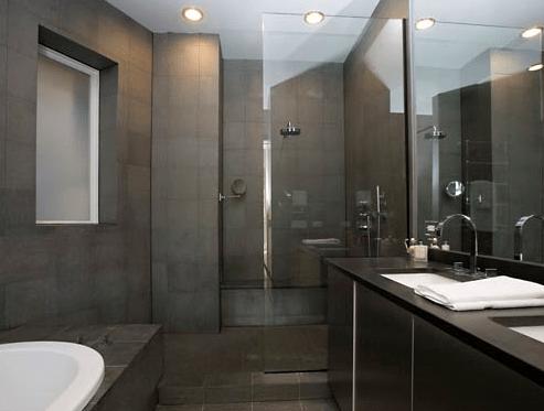 charcoal slate tile modern bathroom