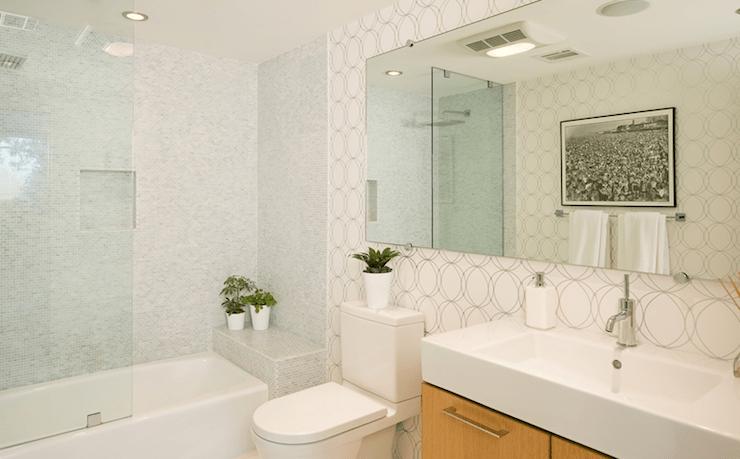 Darcy Wallpape r Contemporary  bathroom  Jeff Lewis Design
