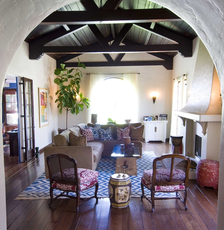 Exposed Wood Beams  Eclectic  living room  Amie Sherry