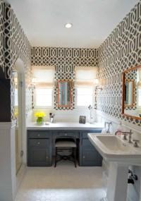 Imperial Trellis Wallpaper - Contemporary - bathroom ...