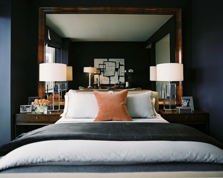 Mirror as Headboard  Transitional  bedroom  Ron Marvin
