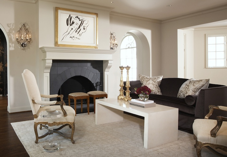 black spindle chair leather reception chairs waterfall coffee table - contemporary living room benjamin moore smoke susan kennedy design