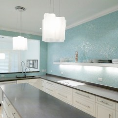 Kitchen Backsplash Glass Tiles Counter Lamps Turquoise Tile Contemporary