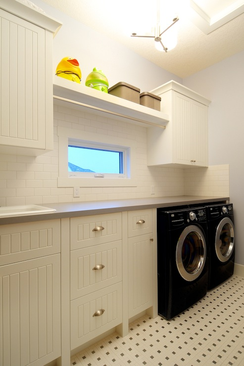 Beadboard Laundry Room Cabinets  Cottage  Laundry Room