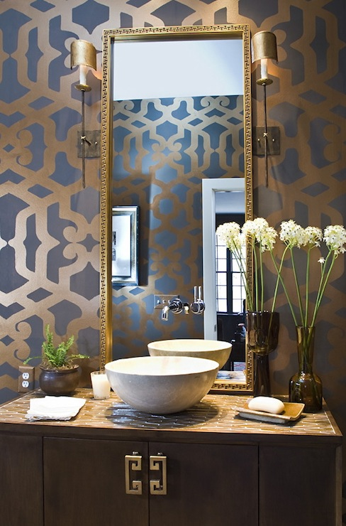 Trellis Wall Stencil  Contemporary  bathroom  Summer