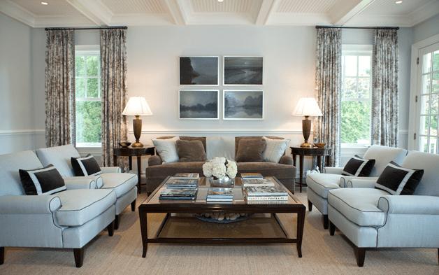 Brown Velvet Sofa  Transitional  living room  Ken Gemes