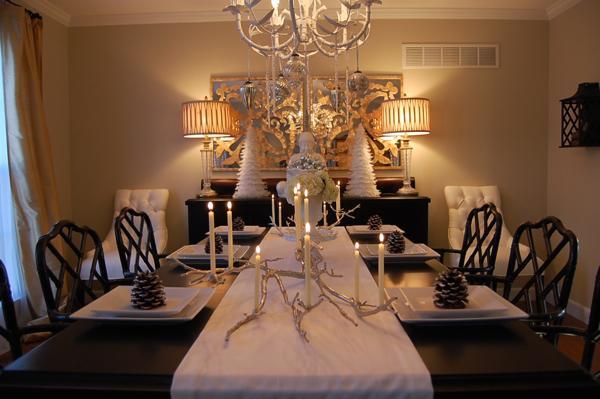 asian themed living room kitchen open plan silver manzanita candelabra - dining ...