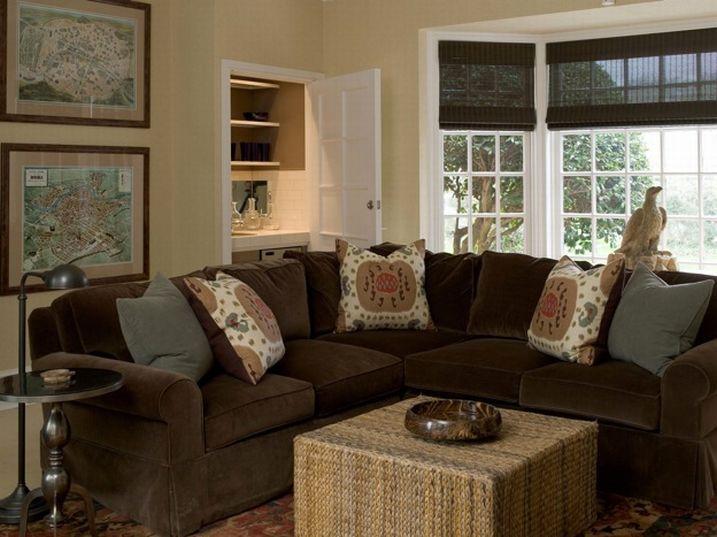 Brown Velvet Sectional  Cottage  living room  Phoebe Howard