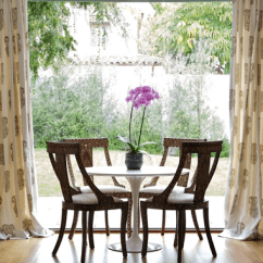Green Upholstered Dining Chairs Suzanne Kasler Quatrefoil Chair Medallion Drapes - Cottage Room Nicole Yee
