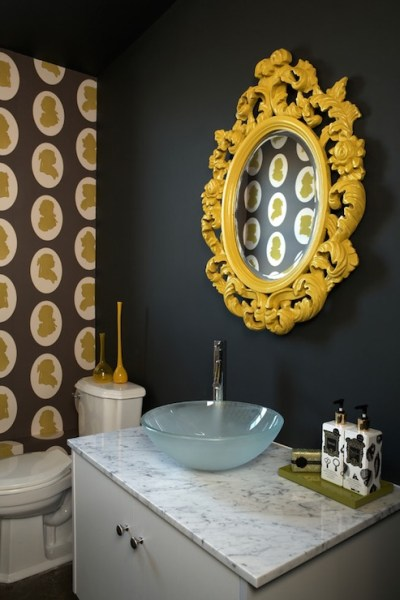 yellow and grey bathroom mirror Yellow Accents - Eclectic - bathroom - Nest Interior Design