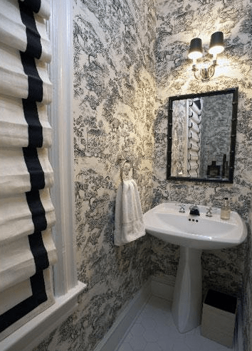 Black and White Roman Shades  Transitional  bathroom