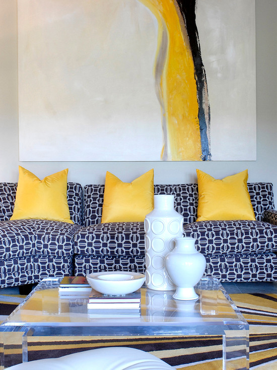 Yellow and Blue Living Room  Contemporary  living room  Tobi Fairley