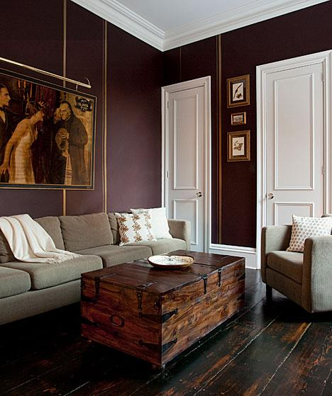 plum colored living rooms images of with sectional couches walls design ideas den feature rich gold stripes and contrasting white trim wide plank floors