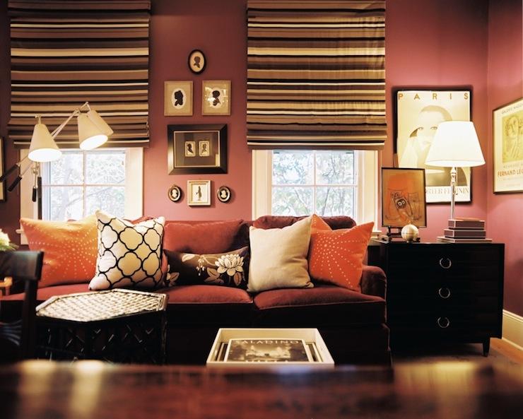 Mauve Walls  Transitional  living room  Lonny Magazine