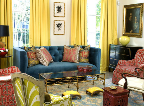 Yellow Drapes  Eclectic  living room  MMR Interiors
