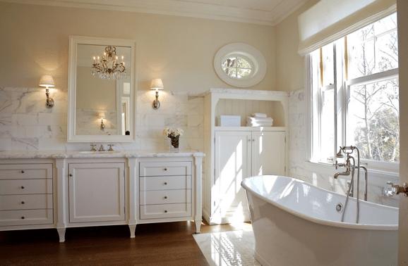 Cream Wall Paint  Transitional  bathroom  Farrow  Ball Slipper Satin  Giannetti Home