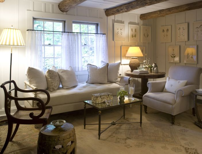 settee for kitchen table lowes track lighting rustic exposed beams ceiling - cottage living room ...