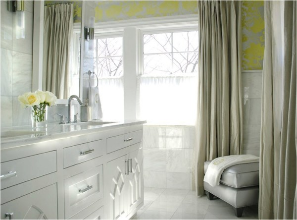 yellow and grey bathroom mirror Yellow and Gray Bathroom - Contemporary - bathroom - Caldwell Flake