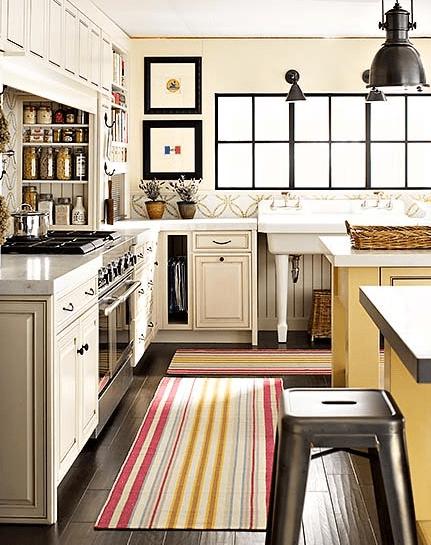 yellow kitchen runner rug Striped Kitchen Runner - Cottage - kitchen