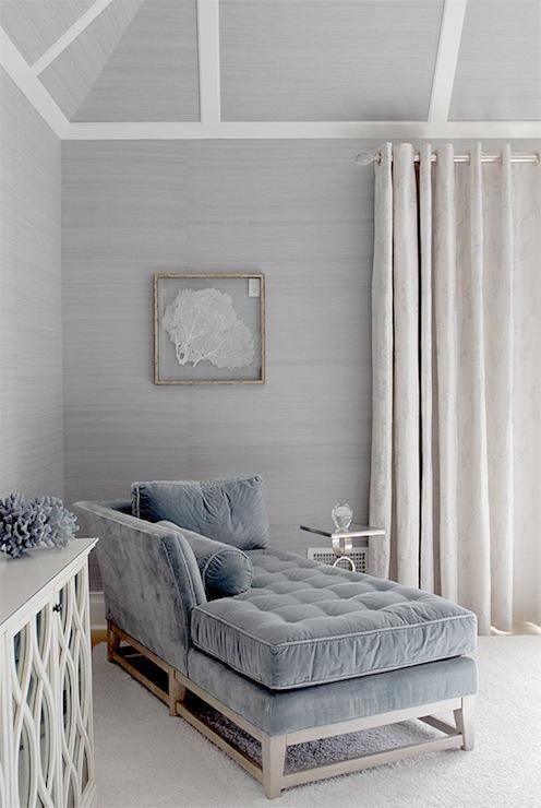 blue velvet chaise lounge cottage