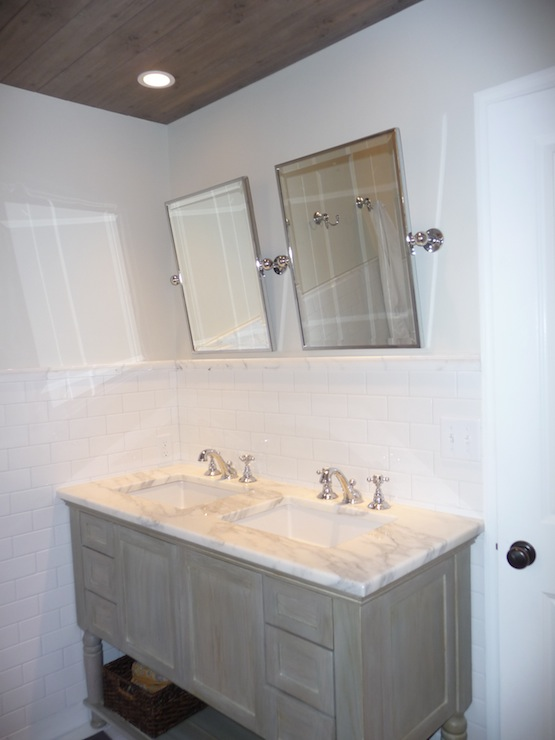 Gray Cabinets  Cottage  bathroom  Benjamin Moore